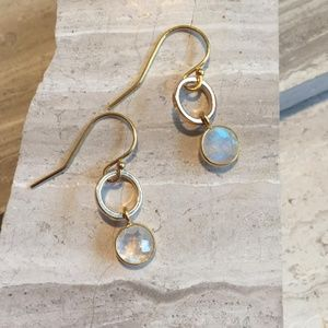 14k gold/sterling silver Moonstone Earrings